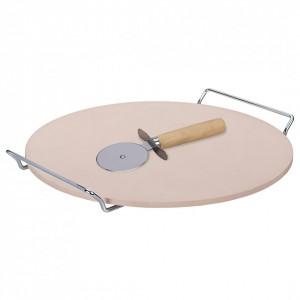 Set preparare si servire pizza Smile SKP-1, ceramica, 33 cm, feliator si suport otel inclus