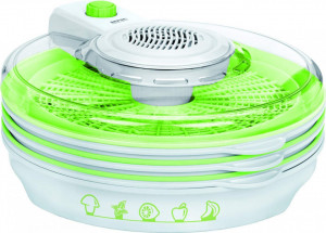 Deshidrator alimente MPM MSG-06, 400W, 6 site, 30 cm, 2 trepte flux aer, pliabil, fara BPA, alb/verde