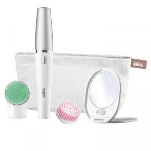 Epilator Braun Face SE851 Editie Premium, 10 prinderi, 2 perii diferite, Wet&Dry, Gentuta, Alb