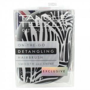 Perie pentru par Tangle Teezer Compact Styler Smooth & Shine Zebra