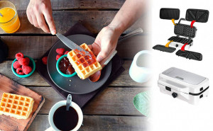 Sandwich maker 3 in 1 MPM MOP-33M, 1200W, 3 tipuri de placi grill, sandwich, waffle, placi antiaderente, carcasa otel inoxidabil, alb
