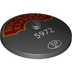 Black Dish 4 x 4 Inverted (Radar) - new with Solid Stud with 'HOGWARTS EXPRESS' and Small '5972' and '10' in Circle Pattern (75955) - new