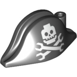 Black Minifigure, Headgear Hat, Pirate Bicorne with Minifigure Skull and Wrenches Crossbones Pattern