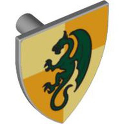 Light Bluish Gray Minifigure, Shield Triangular with Dark Green Dragon on Light Yellow and Ochre Quarters Background Pattern - used