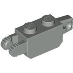 Light Gray Hinge Brick 1 x 2 Locking with 1 Finger Vertical End and 2 Fingers Vertical End, 9 Teeth - used