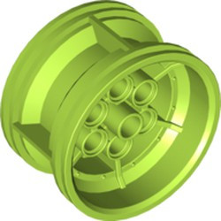 Lime Wheel 43.2mm D. x 26mm Technic Racing Small, 6 Pin Holes - used