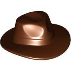Reddish Brown Minifigure, Headgear Hat, Wide Brim Outback Style (Fedora) - used