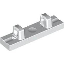 White Hinge Tile 1 x 4 Locking Dual 1 Fingers on Top - used