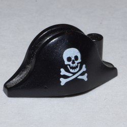 Black Minifigure, Headgear Hat, Pirate Bicorne with Small Skull and Crossbones Pattern
