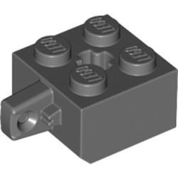 Dark Bluish Gray Hinge Brick 2 x 2 Locking with 1 Finger Vertical and Axle Hole (x Shape) - used