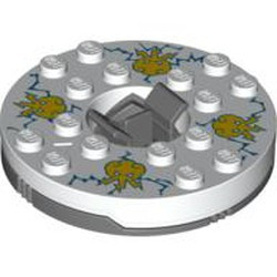 Dark Bluish Gray Turntable 6 x 6 Round Base with White Top with Yellow Faces on Blue Pattern (Ninjago Spinner) - used
