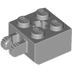 Light Bluish Gray Hinge Brick 2 x 2 Locking with 2 Fingers Vertical and Axle Hole, 9 Teeth - used