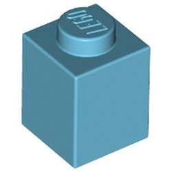 Medium Azure Brick 1 x 1 - used