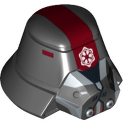 Black Minifigure, Headgear Helmet SW Sith Trooper with Red Stripe Wide, Breathing Mask and Imperial Logo Pattern