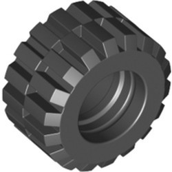 Black Tire 21mm D. x 12mm - Offset Tread Small Wide, Beveled Tread Edge - new
