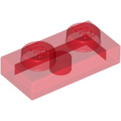 Trans-Red Plate 1 x 2 - used