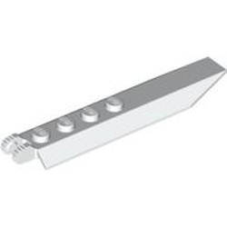 White Hinge Plate 1 x 8 with Angled Side Extensions, 9 Teeth and Rounded Plate Underside - used