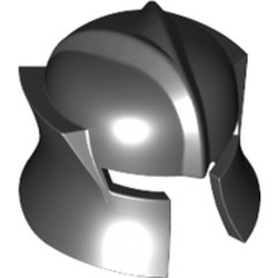 Black Minifigure, Headgear Helmet Castle with Cheek Protection Angled