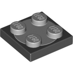 Black Turntable 2 x 2 Plate, Base with Light Bluish Gray Turntable 2 x 2 Plate, Top (3680 / 3679) - used