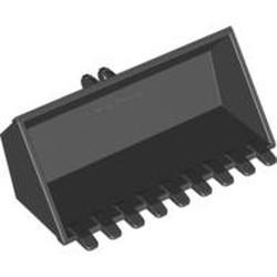 Black Vehicle, Digger Bucket 9 Teeth 4 x 8, Flat Inside with Locking 2 Finger Hinge - used