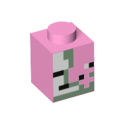 Bright Pink Brick 1 x 1 with Olive Green, Black and White Squares and Rectangles Pattern (Minecraft Zombie Pigman Face) - new