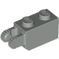 Light Gray Hinge Brick 1 x 2 Locking with 2 Fingers Vertical End, 9 Teeth - used