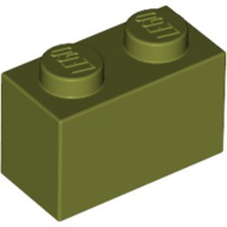 Olive Green Brick 1 x 2 - used
