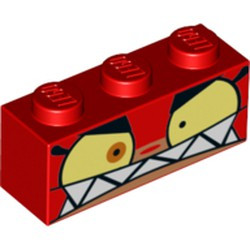 Red Brick 1 x 3 with Cat Face Wide Yellow Eyes, Angry Expression with Clenched Teeth Pattern (Angry Unikitty) - new