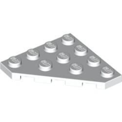 White Wedge, Plate 4 x 4 Cut Corner - used