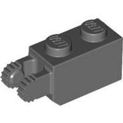 Dark Bluish Gray Hinge Brick 1 x 2 Locking with 2 Fingers Vertical End, 9 Teeth - used