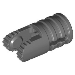 Dark Bluish Gray Hinge Cylinder 1 x 2 Locking with 2 Fingers, 9 Teeth and Axle Hole on Ends with Slots - used