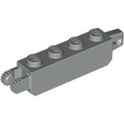 Light Gray Hinge Brick 1 x 4 Locking, 9 Teeth with 1 Finger Vertical End and 2 Fingers Vertical End, 9 Teeth - used