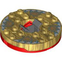 Red Turntable 6 x 6 Round Base with Pearl Gold Top with Gold Faces on White and Blue Pattern (Ninjago Spinner) - used