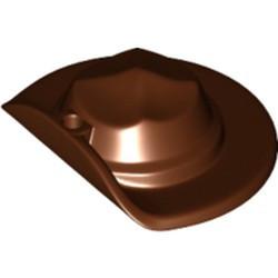 Reddish Brown Minifigure, Headgear Hat, Wide Brim Flat