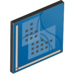 Black Road Sign 2 x 2 Square with Open O Clip with Curved Blue Lines and Small Black Squares Pattern (Computer Screen) - used