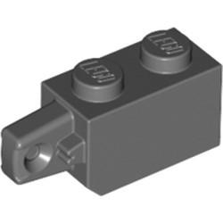 Dark Bluish Gray Hinge Brick 1 x 2 Locking with 1 Finger Vertical End - used