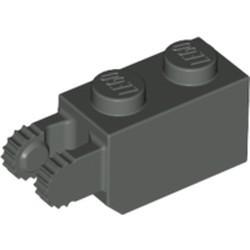 Dark Gray Hinge Brick 1 x 2 Locking with 2 Fingers Vertical End, 9 Teeth - used