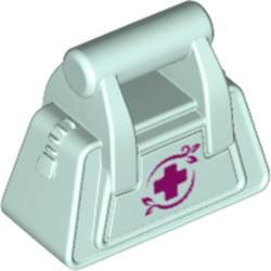 Light Aqua Friends Accessories Handbag with Zipper and Red Cross Pattern - new