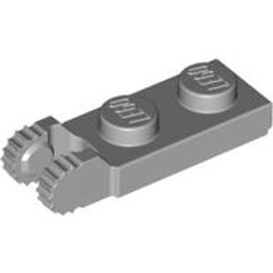Light Bluish Gray Hinge Plate 1 x 2 Locking with 2 Fingers on End and 9 Teeth without Bottom Groove - new