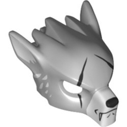 Light Bluish Gray Minifigure, Headgear Mask Wolf with Fangs, Scars and White Ears Pattern