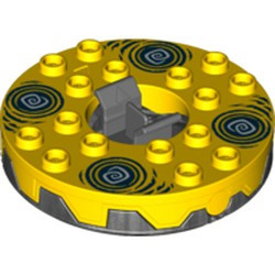 Pearl Dark Gray Turntable 6 x 6 Round Base Serrated with Yellow Top and White and Dark Blue Hypnobrai Pattern (Ninjago Spinner) - used