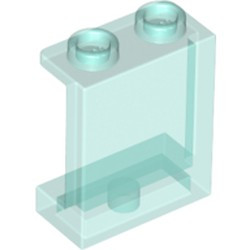 Trans-Light Blue Panel 1 x 2 x 2 with Side Supports - Hollow Studs - new