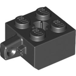 Black Hinge Brick 2 x 2 Locking with 1 Finger Vertical and Axle Hole (+ Shape) - used