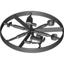 Black Minifigure, Utensil Tool Box Wrench - 6-Rib Handle