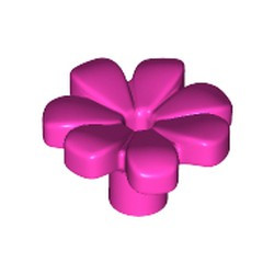Dark Pink Friends Accessories Flower with 7 Thick Petals and Pin - new
