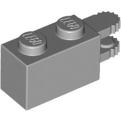 Light Bluish Gray Hinge Brick 1 x 2 Locking with 2 Fingers Horizontal End, 9 Teeth - used