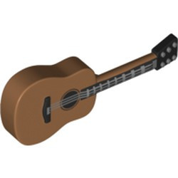 Medium Nougat Minifigure, Utensil Guitar Acoustic with Black Neck and Silver Strings Pattern