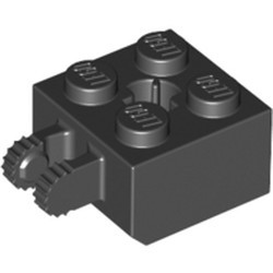 Black Hinge Brick 2 x 2 Locking with 2 Fingers Vertical and Axle Hole, 9 Teeth - new