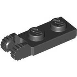 Black Hinge Plate 1 x 2 Locking with 2 Fingers on End and 9 Teeth without Bottom Groove - new