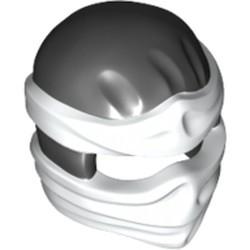 Black Minifigure, Headgear Ninjago Wrap Type 2 with White Wraps and Knot Pattern
